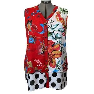 Mixed print Double layer sleeveless blouse XXL
